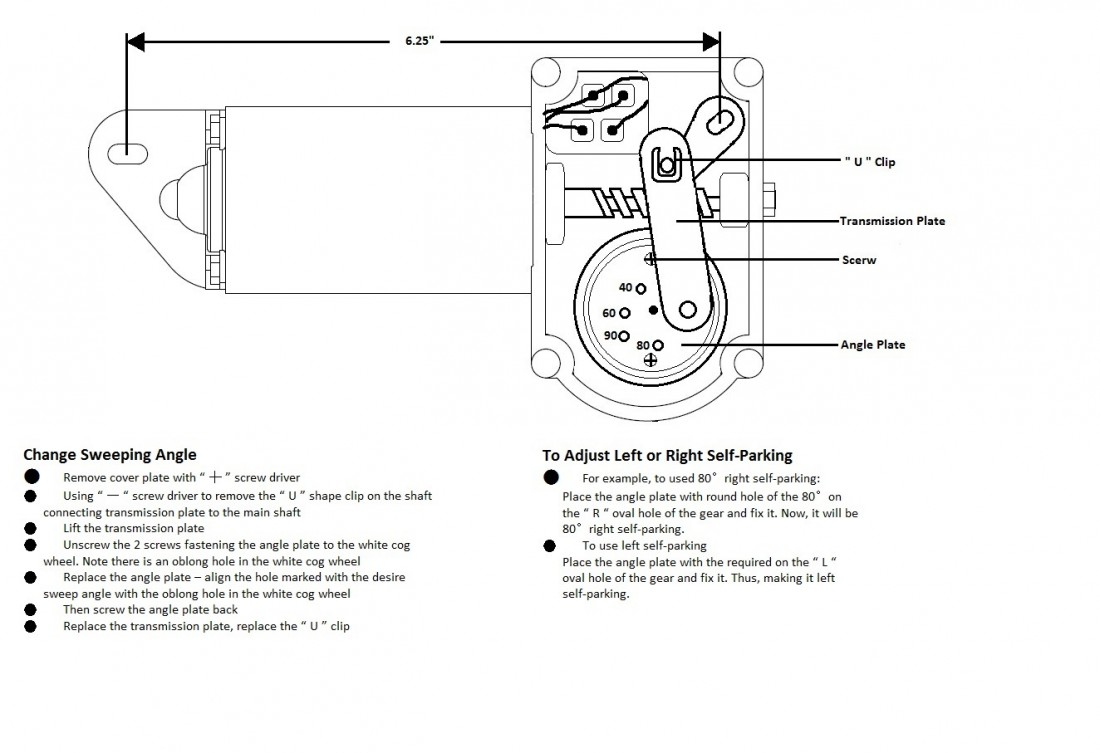 technical information changing the sweep angle and self park on ongaro heavy duty wiper motors • guide to selecting wire